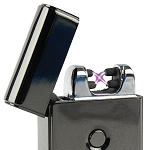 Luxury USB Rechargeable Electronic Electro Plasma Dual Arc lighter Windproof, flameless, Waterproof (Metallic Black)